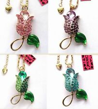 Betsey Johnson shiny crystal Beautiful The tulip pendant Necklace 4 Color#758L