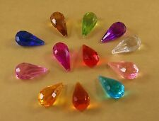 """Set of 14 Hanging Acrylic Faceted Chandelier Tear Drop Crystals - 2"""" By 1"""""""