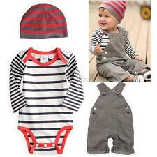Baby Boy Toddler 3PCS Set Hat+Bodysuit+Bib Pants Overall Outfit Clothes 0-3Y