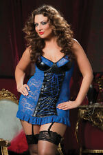 Seven Til Midnight Plus Size Lingerie 1X 2X 3X 4X Lace Up Chemise Wet Look Vinyl