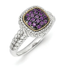 Amethyst Cluster Ring .925 Sterling Silver & 14K Gold Accent Sz 6-8 Shey Couture