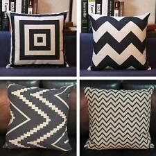 Vintage Black White Cotton Linen Cushion Cover Throw Pillow Case Home Decor