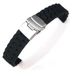 Silicone Rubber Deployment Diver Milltary Sports Watch Strap Band 18 20 22 24mm