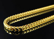 "Real 10K Yellow Gold Solid Franco Link Style Chain Necklace 24-36"" (2.5MM)"