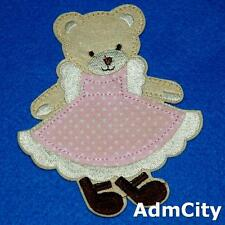 Teddy Bear Girl Patch Iron on Sew Applique Embroidery Baby Cute Cuddly Animal