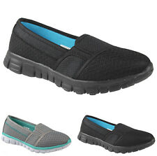 WOMENS AIR SLIP ON COMFORT FLAT WALKING SHOES LADIES TRAINERS PUMPS BOOTS SIZES