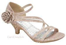 New Toddler Youth Girls Champagne Gold Glitter Dress Shoes Heels Pageant Strappy