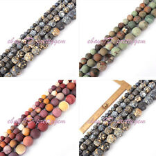 DIY JEWELRY MAKING FROST ROUND NATURAL SPACER LOOSE GEMSTONE BEADS STRAND 15""