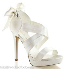 "Pleaser Lumina 23 Ivory White Satin Cross Strap Mini PF 5"" Heel Wedding Shoe"