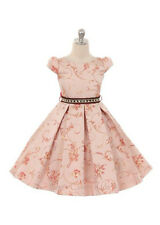 New Girls Pink Jacquard Floral Vine Dress Christmas Party Easter Flower Girl 231