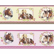 NEW RASCH HORSE PONY PATTERN POLKA DOT FLORAL GIRLS CHILDRENS WALLPAPER BORDER