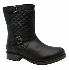 Lotus Conroe Women's Black Zip Up Leather Mid Calf Quilted Biker Style Boots New