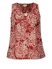**SALE** NOMADS Pretty Red Cotton Summer Vest Top Fair Trade Lace Print