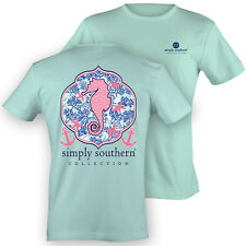 NEW Simply Southern Preppy Seahorse Starfish Anchor Bow Girlie Bright T Shirt