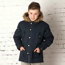 Junior Boys French Connection Parka Jacket In Navy, Keep Your Boy Comfortable