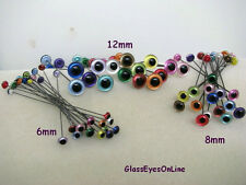 15 PAIR 6mm to 8mm Glass Eyes on Wire Iridescent Colors teddy bears  (IR-222)