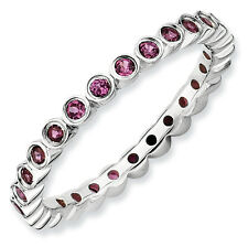Rhodolite Garnet Eternity Ring Sterling Silver Sz 5-10 Stackable Expressions