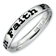 Faith Ring .925 Sterling Silver Black Enameled Size 5-10 Stackable Expressions