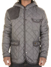 New Mens Voi Jeans Designer Quilted Majesty Hood Jacket Grey