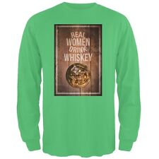 St. Patricks Day -Real Women Drink Whiskey Irish Green Adult Long Sleeve T-Shirt