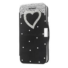 Luxury Flip Leather Hard Case Cover W/ Bling Diamond Crystal for iPhone 6 Plus