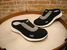 Ryka Black Canvas Largo Gingham Check Mule NEW