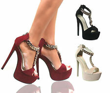 WOMENS STRAPPY PEEP TOE PLATFORM STILETTO HIGH HEELS SHOE SANDALS CHUNKY CHAIN