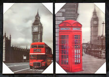 London 3D Pictures Vintage Old Red London Bus Big Ben or Red Telephone Box Icon