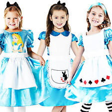 Alice in Wonderland Girls Fancy Dress Storybook Fairytale Kids Childrens Costume