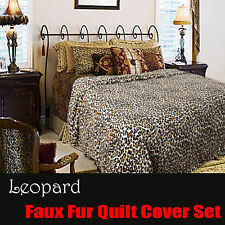 Leopard Printed Faux Fur Animal Quilt Cover Set DOUBLE QUEEN KING