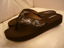 NEW WOMEN'S BROWN COACH  SANDALS WEDGE SHOES FLIP FLOPS 5,6.5 JUDY HORSE BUGGY