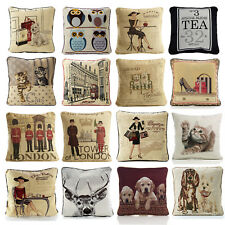 """Vintage Tapestry Cushion Cover - 18"""" X 18"""" - Chenille Woven Scatter Cushion Case"""