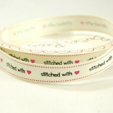 16mm Bertie's Bows Stitched With Love Grosgrain Heart Craft Ribbon