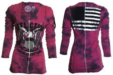 AFFLICTION Women LS T-Shirt Top LIVE FAST FREE Tattoo Biker UFC BKE Sinful S $68