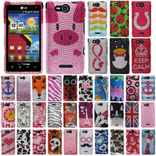 For LG Lucid 4G VS840 Ladybugs Crystal Bling Snap On Hard Case Cover Accessory
