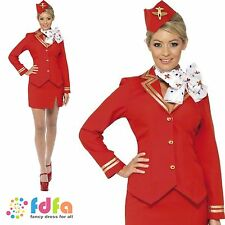 RED VIRGIN CABIN CREW TROLLEY DOLLY AIR HOSTESS 8-22 ladies fancy dress costume