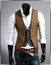 Mens Business Casual Layered style Slim Waistcoat Casual Vest-US Seller