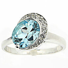 925 Sterling Silver Natural Topaz Ring