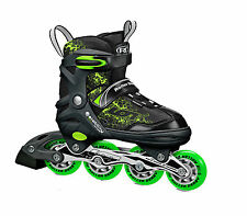 Boys Black and Green Ion Children Adjustable Inline Skates with Aluminum Frame