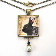 "BLACK BUNNY RABBIT ""VINTAGE CHARM"" ART GLASS BRONZE OR SILVER PENDANT NECKLACE"