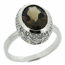 925 Sterling Silver 2.50ct Natural Smoky Quartz & CZ Ring