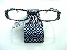 READING GLASSES BLACK WHITE DIAMOND MATCHING CASE SPRUNG ARMS 2 STRENGTHS ET1008