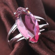 18K gold filled lady Clear pink Swarovski crystal party striking rings Sz6 to 10