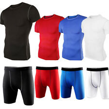 Mens Sports Compression Wear Under Baselayer Athletic T-Shirts Top/Tights/Shorts