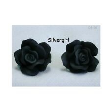 Large Polymer Clay Ruffle Rose Stud Earrings Lots Color Variations 1 small pair