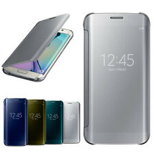 Luxury Mirror Flip Smart Leather Case Cover for Samsung Galaxy S6 Edge Salable