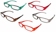 NEW READING GLASSES SPLIT ARM DESIGN ACRYLIC FRAME READERS VARIOUS COLOURS D533