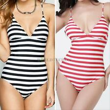 Women Sexy One-piece Halter Monokini Stripe Backless Bandeau Swimwear Swimwear