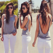 Sexy Women Casual V Backless Vest Top Tank Sleeveless Shirt T-Shirt Tops Blouse
