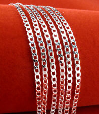 Unisex 925 Sterling Silver 2mm Curb Chain Charm Necklace Wholesale